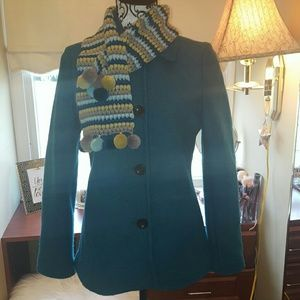 Lands End Teal Coat and Matching Scarf